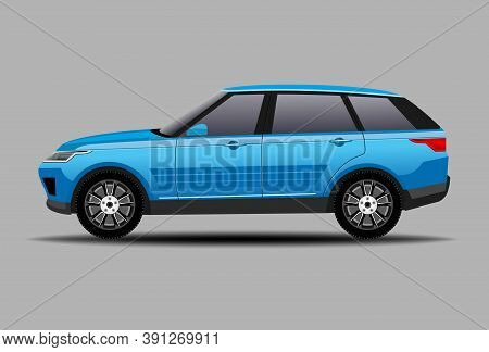 Car Suv. Auto Side View Blue Vehicle. Vector Illustration