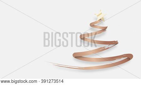 Abstract Christmas Tree Made From Gold Brush. Vector Illustration