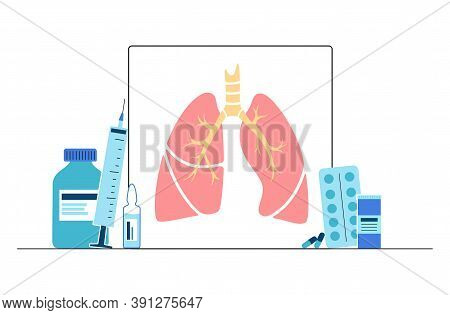 Lungs Anatomy, Respiratory System Disease. Tuberculosis, Pneumonia And Asthma Diagnosis. Patients He