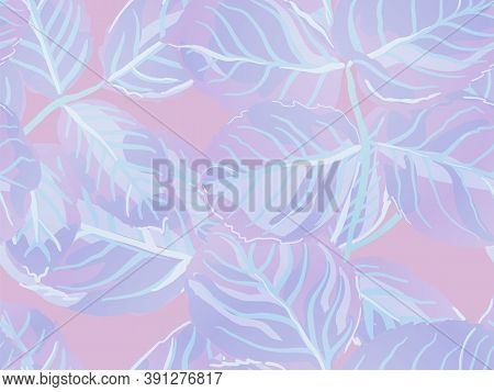 Rose Leaves Seamless Pattern. Proton Purple Summer Textile Design. Repeated Spring Peony Wallpaper.