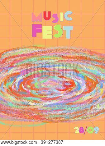 Music Cover In Blue, Violet, Pink, Green Colors. Rock Concert Flyer. Minimal Tech Brochure. Waveform