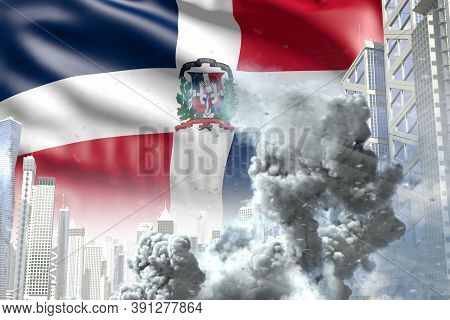 Large Smoke Pillar In The Modern City - Concept Of Industrial Blast Or Terrorist Act On Dominican Re