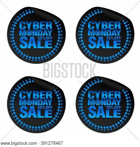 Cyber Monday Sale Power Stickers Set 50%, 55%, 60%, 70% Off. Vector Illustration