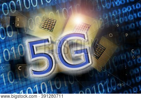 5g Word On Technology Abstract Background With Cpu And Binary Code. Concept Of 5g Network Communicat