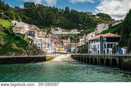 Old Fishing Village Of Cudillero At The Cantabrian Sea Coast In Asturias, Spain.