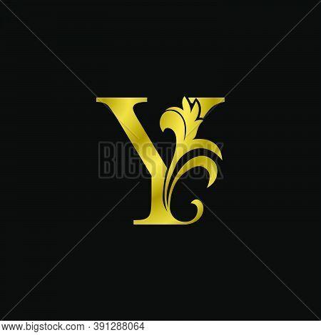 Golden Y Initial Letter Luxurious Logo Icon, Vintage Luxury Vector Design Concept Outline Alphabet L