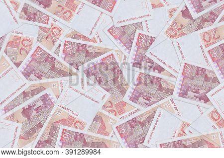 20 Croatian Kuna Bills Lies In Big Pile. Rich Life Conceptual Background