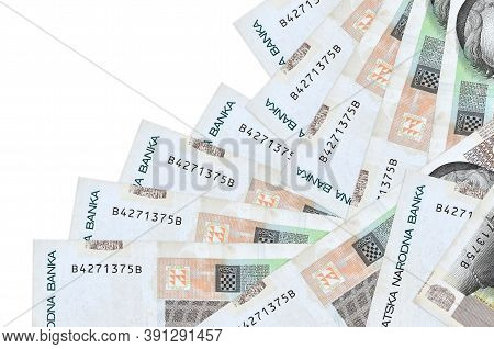 10 Croatian Kuna Bills Lies In Different Order Isolated On White. Local Banking Or Money Making Conc