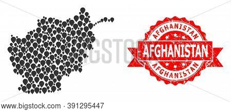 Pin Collage Map Of Afghanistan And Grunge Ribbon Seal. Red Stamp Seal Has Afghanistan Text Inside Ri