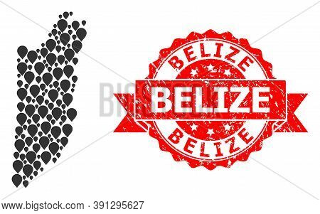 Target Mosaic Map Of Belize And Grunge Ribbon Stamp. Red Stamp Contains Belize Text Inside Ribbon. A