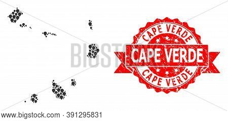 Marker Mosaic Map Of Cape Verde Islands And Grunge Ribbon Stamp. Red Stamp Seal Includes Cape Verde