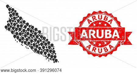 Pinpoint Collage Map Of Aruba Island And Scratched Ribbon Seal. Red Stamp Seal Contains Aruba Title