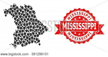 Pin Collage Map Of Bavaria State And Scratched Ribbon Stamp. Red Stamp Seal Contains Mississippi Tex