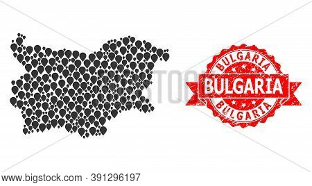 Pointer Mosaic Map Of Bulgaria And Grunge Ribbon Stamp. Red Stamp Seal Includes Bulgaria Caption Ins