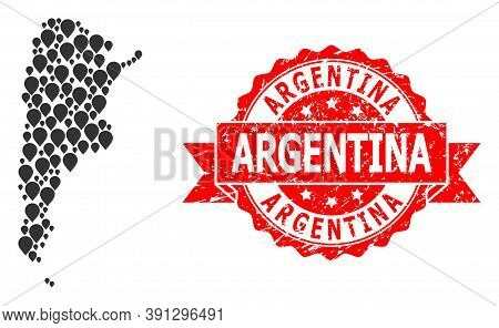Pointer Mosaic Map Of Argentina And Scratched Ribbon Seal. Red Seal Contains Argentina Tag Inside Ri