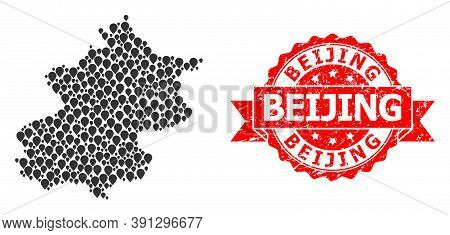 Pin Mosaic Map Of Beijing Municipality And Scratched Ribbon Stamp. Red Stamp Seal Has Beijing Captio