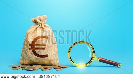 Euro Money Bag And Magnifying Glass. Revising The Budget To Save Money. Financial Audit Control. Mos
