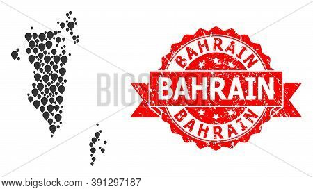Pinpoint Collage Map Of Bahrain And Grunge Ribbon Watermark. Red Stamp Seal Includes Bahrain Tag Ins
