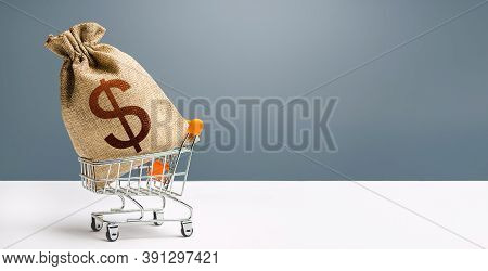 Dollar Money Bag On A Shopping Cart. Profits And Super Profits. Loans And Microloans. Minimum Living