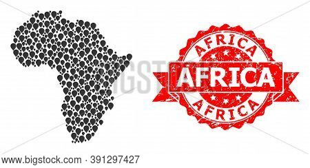 Pin Collage Map Of Africa And Grunge Ribbon Seal. Red Seal Contains Africa Caption Inside Ribbon. Ab