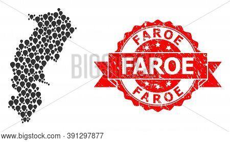 Pinpoint Mosaic Map Of Chhattisgarh State And Grunge Ribbon Stamp. Red Stamp Seal Has Faroe Tag Insi