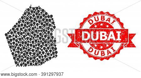 Mark Collage Map Of Dubai Emirate And Grunge Ribbon Seal. Red Seal Contains Dubai Tag Inside Ribbon.