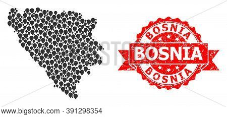 Mark Collage Map Of Bosnia And Herzegovina And Grunge Ribbon Seal. Red Seal Includes Bosnia Text Ins