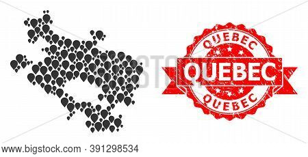 Pin Collage Map Of Alava Province And Grunge Ribbon Seal. Red Stamp Seal Contains Quebec Text Inside