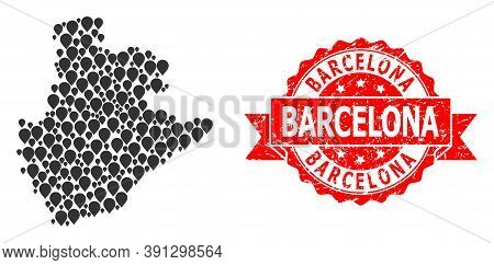 Marker Collage Map Of Barcelona Province And Grunge Ribbon Seal. Red Seal Contains Barcelona Caption