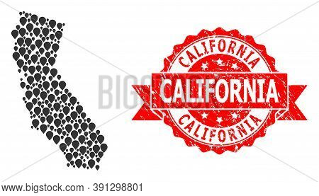 Target Mosaic Map Of California And Grunge Ribbon Seal. Red Stamp Seal Has California Title Inside R