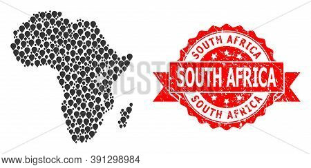 Mark Collage Map Of Africa And Grunge Ribbon Stamp. Red Stamp Includes South Africa Text Inside Ribb