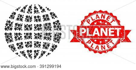 Pinpoint Mosaic Globe And Grunge Ribbon Seal. Red Stamp Seal Contains Planet Text Inside Ribbon. Abs