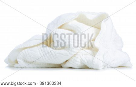White Warm Knitted Blanket On White Background Isolation