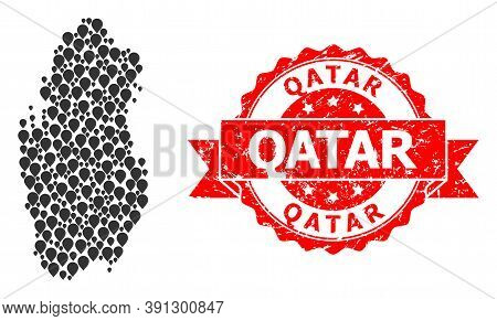 Mark Collage Map Of Qatar And Scratched Ribbon Stamp. Red Stamp Seal Has Qatar Tag Inside Ribbon. Ab
