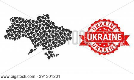 Mark Collage Map Of Ukraine And Grunge Ribbon Seal. Red Seal Contains Ukraine Title Inside Ribbon. A