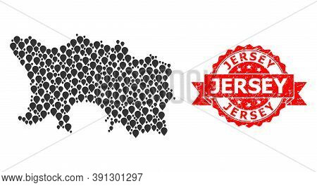 Mark Mosaic Map Of Jersey Island And Scratched Ribbon Stamp. Red Stamp Includes Jersey Caption Insid