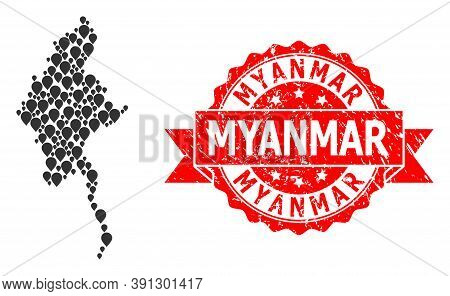 Marker Collage Map Of Myanmar And Grunge Ribbon Stamp. Red Stamp Seal Includes Myanmar Text Inside R
