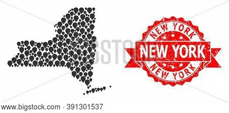 Pin Collage Map Of New York State And Grunge Ribbon Stamp. Red Stamp Includes New York Caption Insid