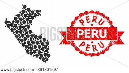 Pin Collage Map Of Peru And Grunge Ribbon Seal. Red Seal Includes Peru Tag Inside Ribbon. Abstract M