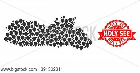 Pinpoint Mosaic Map Of Meghalaya State And Scratched Ribbon Seal. Red Stamp Seal Includes Holy See T