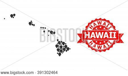 Mark Collage Map Of Hawaii State And Grunge Ribbon Watermark. Red Seal Has Hawaii Title Inside Ribbo
