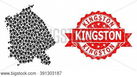 Pinpoint Mosaic Map Of Pavlodar Region And Grunge Ribbon Stamp. Red Stamp Contains Kingston Title In