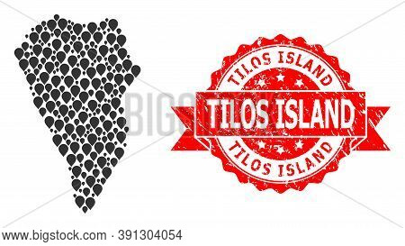 Mark Collage Map Of La Palma Island And Scratched Ribbon Stamp. Red Stamp Contains Tilos Island Titl