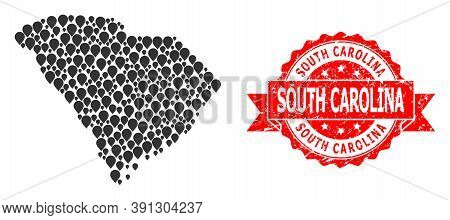 Pointer Collage Map Of South Carolina State And Grunge Ribbon Watermark. Red Stamp Seal Has South Ca