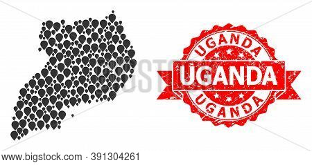 Mark Collage Map Of Uganda And Grunge Ribbon Stamp. Red Stamp Includes Uganda Tag Inside Ribbon. Abs