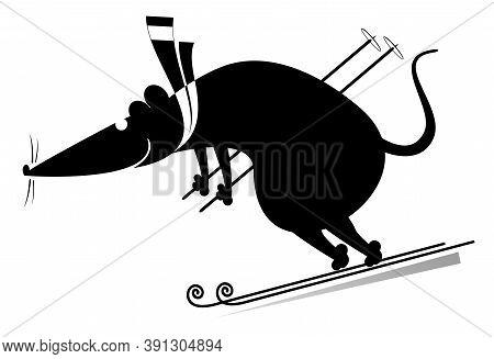 Downhill Skier Rat Or Mouse Illustration. Rat Or Mouse A Skier Black On White