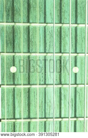 Classical Acoustic Guitar Close Up Frets and Strings