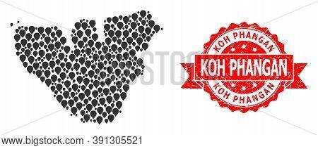 Target Mosaic Map Of Moorea Island And Grunge Ribbon Seal. Red Seal Contains Koh Phangan Title Insid