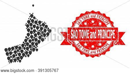 Pin Collage Map Of Oman And Scratched Ribbon Seal. Red Seal Has Sao Tome And Principe Text Inside Ri