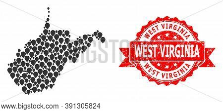 Mark Mosaic Map Of West Virginia State And Scratched Ribbon Watermark. Red Stamp Seal Contains West